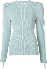 Ruffled Sleeve Knitted Top Women Silkpolyesterpolyurethanerayon S, Women's, Blue