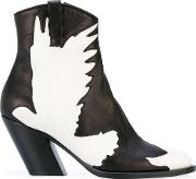 A.f.vandevorst Dove Pattern Boots Women Leathersheep Skinshearling 38, Black