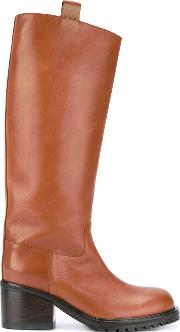 A.f.vandevorst Knee High Boots Women Calf Leatherrubber 38.5, Brown