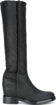 A.f.vandevorst Knee High Boots Women Leathersheep Skinshearling 37, Women's, Black