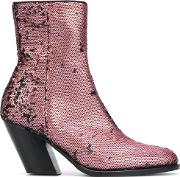 A.f.vandevorst Sequined Ankle Boots Women Leatherpolyester 41, Pinkpurple