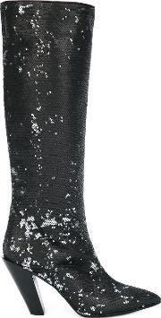 A.f.vandevorst Sequined Knee High Boots Women Leatherpolyestersequin 38