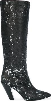 A.f.vandevorst Sequined Knee High Boots Women Polyestersequinleather 37, Black
