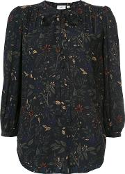 Floral Print Blouse Women Silk