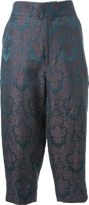 Baroque Jacquard Cropped Trousers Women Silklinenflax 38, Green