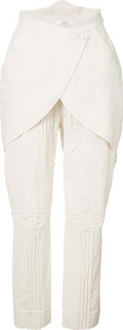 Layered Crop Trousers Women Cotton 36, White