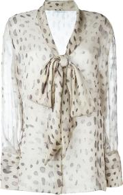 Sheer Printed Pussy Bow Blouse Women Silk 44, Nudeneutrals