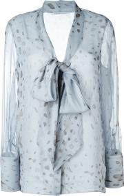Sheer Printed Pussy Bow Blouse Women Silk 50, Blue