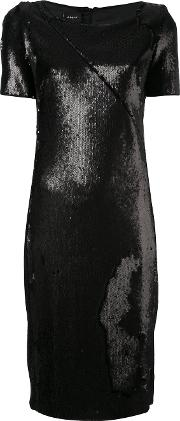 Metallic Shift Dress Women Polyesterspandexelastanemulberry Silk 34, Black