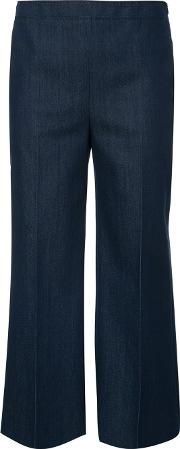 Cropped Trousers Women Cottonpolyesterspandexelastane 10, Blue
