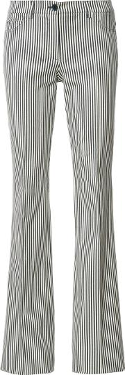 Striped Flared Trousers Women Acetatespandexelastanecotton 38, Nudeneutrals