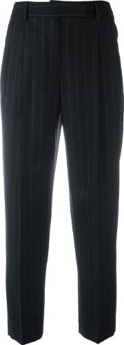 Pinstriped Pleated Tapered Trousers Women Cottonspandexelastanecashmerevirgin Wool 44