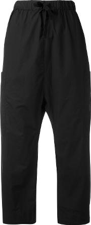 Elasticated Waist Cropped Trousers Women Cotton S, Black