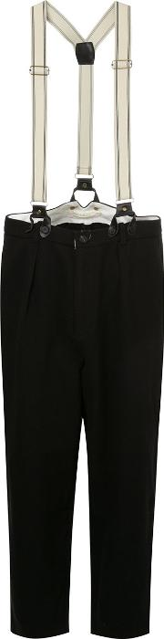 Aleksandr Manamis Tapered Trousers With Braces Women Linenflaxwool 2, Black