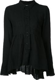Pleated Blouse Women Linenflax 2, Black