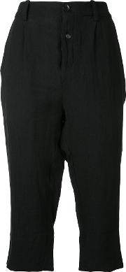 Pleated Cropped Trousers Women Cottonlinenflax 2, Black
