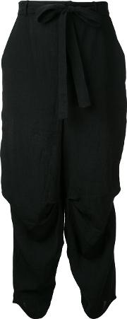 Tie Fastened Trousers Women Linenflax 1, Black