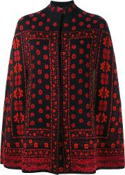 Floral Jacquard Knit Cape Women Silkpolyamidepolyesterwool Xs, Black