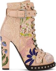 High Heeled Leather Floral Embroidered Bootie Women Leatherpvcnyloncotton 37, Pinkpurple