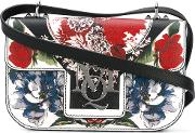 Insignia Floral Print Satchel Women Calf Leather One Size