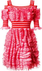Ruffled Dress Women Polyamidepolyesterviscose S, Pinkpurple