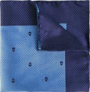 Skull And Dots Pocket Square Men Silk One Size, Blue