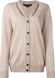 Cut Out Detail Knitted Cardigan Women Wool M, Nudeneutrals