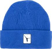 Ribbed Beanie Hat Men Cotton One Size, Blue