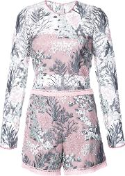 Alexis Floral Embroidered Playsuit Women Nylonpolyesterspandexelastane L, Pinkpurple