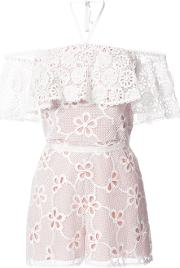 Floral Embroidery Playsuit Women Polyesterspandexelastane S, White