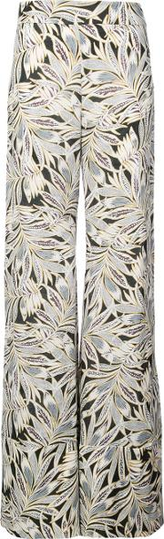 Foliage Print Flared Trousers