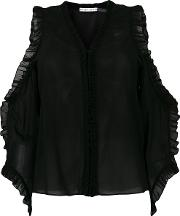 Alice Olivia Cut Out Shoulders Frill Trim Blouse