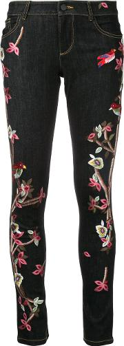 Alice Olivia Embroidered Slim Fit Skinny Jeans Women Cottonpolyesterspandexelastane 28, Blue