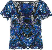 Alice Olivia Floral Embroidered Blouse Women Polyesterspandexelastane L, Blue