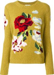Allude Floral Sweater Women Cashmere S, Yelloworange
