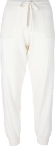 Cropped Lace Up Trousers Women Cashmerewool Xs, Ivory
