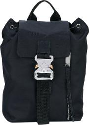 Buckle Detail Backpack Unisex Polyester One Size, Black