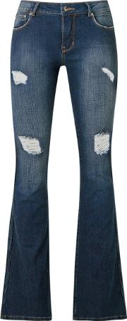 Distressed Flared Jeans Women Cottonelastodiene 34, Blue