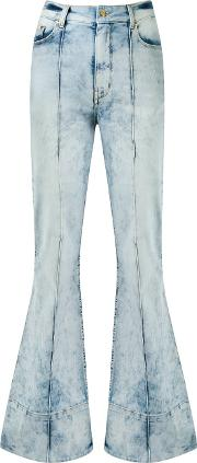 High Waist Flared Jeans Women Cottonelastodiene 38, Blue
