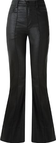 High Waisted Flared Trousers Women Cottonspandexelastane 38, Black