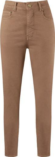 High Waisted Skinny Jeans Women Cottonelastodiene 36, Women's, Brown