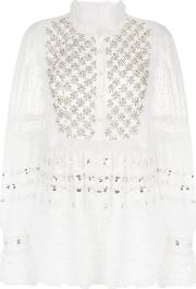 Amen Embellished Sheer Blouse Women Silkpolyamideglass 42, White