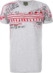 Amen Embroidered T Shirt Men Cottonpolyester 46, Grey