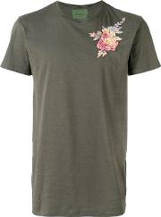 Floral Embroidered T Shirt Men Cottonviscose 52, Green