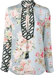 Floral Print Blouse Women Silk 38