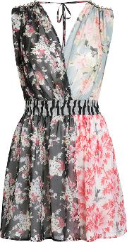 Patched Floral Sleeveless Dress Women Silk 44