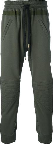 Stitched Panel Track Pants Men Cotton 50, Green