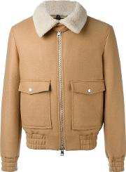 Ami Alexandre Mattiussi Zipped Jacket With Shearling Collar Men Virgin Woolpolyimide Xl, Brown