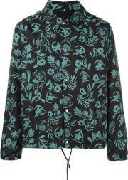 Plants Print Hooded Jacket Men Polyamidepolyester S, Black