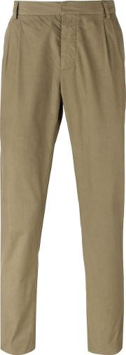 Pleated Trousers Men Cotton L, Green